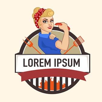 Mulher grelhado logotipo vintage