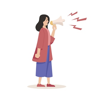 Mulher gritando com um conceito de megafone
