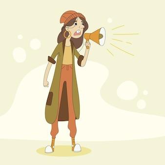 Mulher gritando com um megafone e em pé