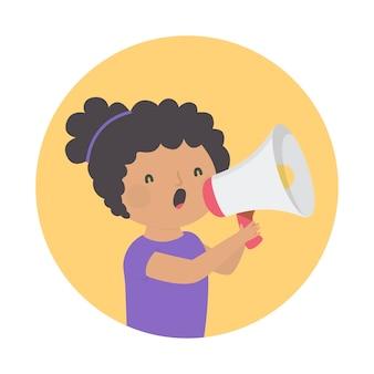 Mulher gritando com um tema de megafone