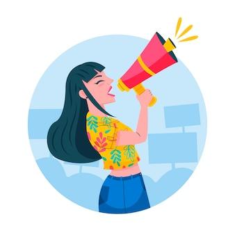 Mulher gritando com uma ilustração de megafone