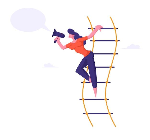 Mulher gritando no alto-falante ou megafone ilustração plana