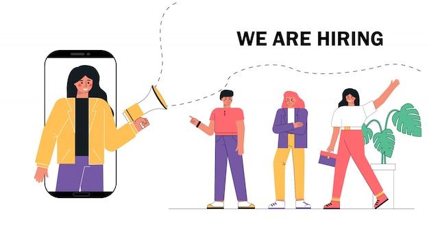 Mulher gritando no megafone ou alto-falante e recrutando novos funcionários pessoas para trabalhar.