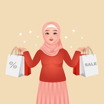 Mulher hijab sorrindo com sacolas de compras à venda
