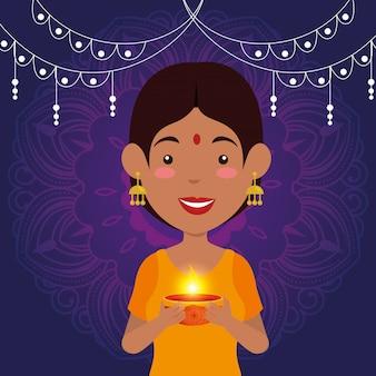 Mulher hindu com vela e luzes penduradas