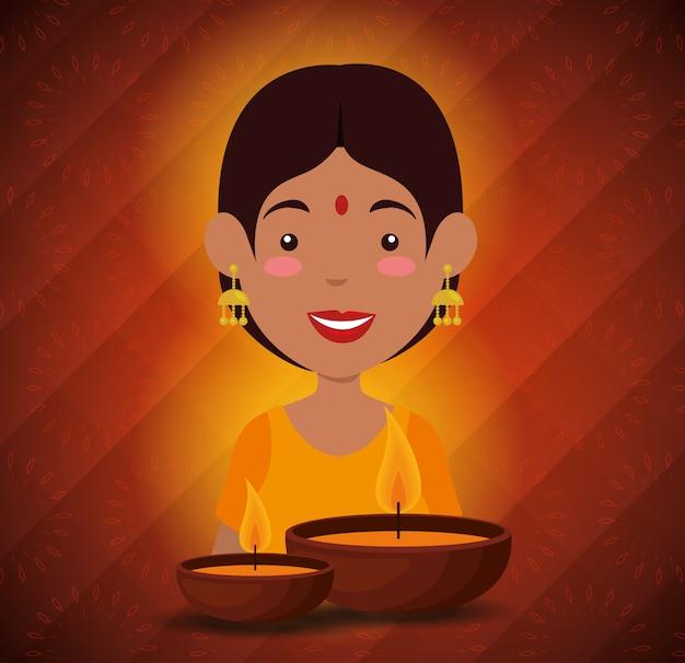 Mulher hindu com velas para diwali