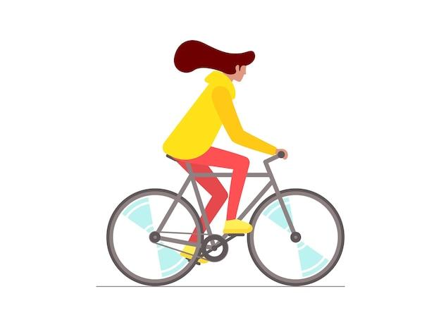Mulher hippie andando de bicicleta jovem ciclista isolada menina elegante de bicicleta