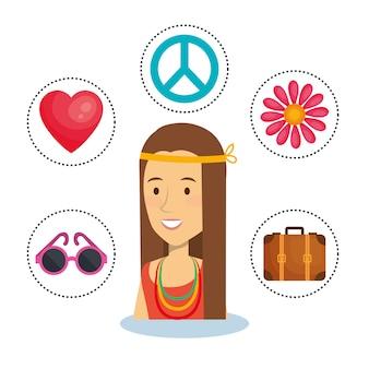 Mulher hippie com adesivos de objeto relacionado