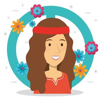 Mulher hippie com sinal de paz e flores