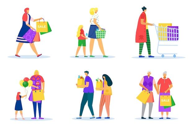 Mulher homem compras isolado no branco conjunto ilustração vetorial plana pessoas personagem segurar bolsa pessoa i ...