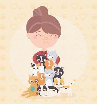Mulher idosa abraços gatos animais domésticos ilustração