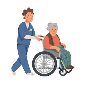 Mulher idosa em cadeira de rodas e ilustração de enfermeiro