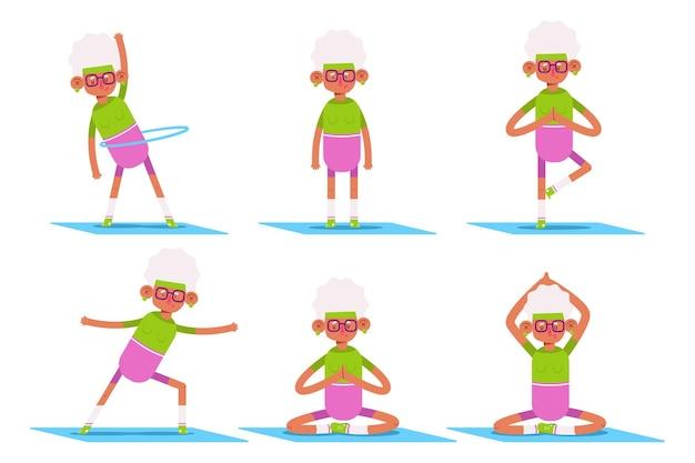 Mulher idosa fofa fazendo exercícios de ioga e fitness