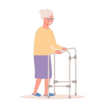 Mulher idosa mulher idosa com andador de remo no fundo branco mulher idosa