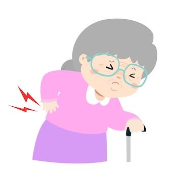 Mulher idosa que sofre de vetor de dor nas costas