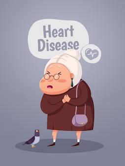 Mulher idosa tendo um ataque cardíaco, personagem de desenho animado. ilustração vetorial