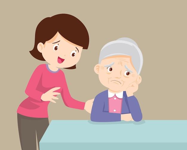 Mulher idosa triste e quer abraçar