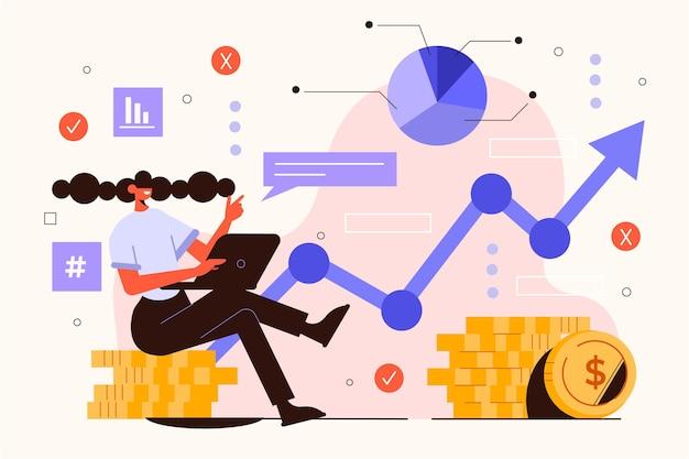 Mulher ilustrada com gráficos de análise do mercado de ações