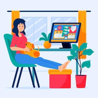 Mulher ilustrada com seu cachorro que adia o trabalho