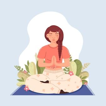 Mulher ilustrada meditando em casa