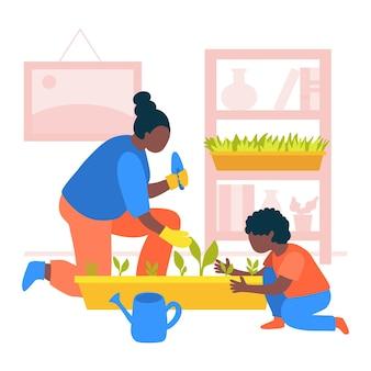 Mulher ilustrada que jardina em casa com seu filho