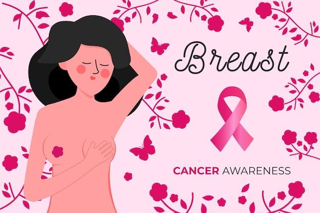 Mulher ilustrada representando o mês da conscientização sobre o câncer de mama