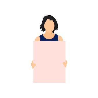 Mulher ilustrada segurando papel em branco