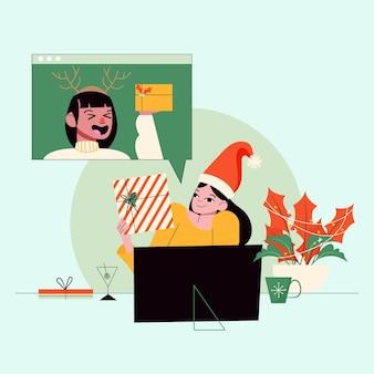 Mulher ilustrada tendo uma videochamada na noite de natal
