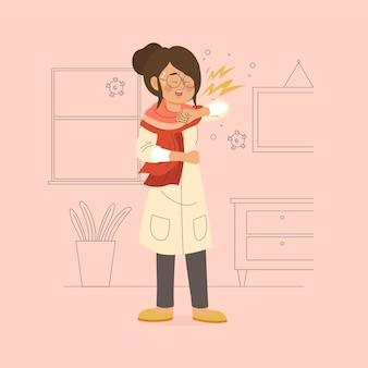 Mulher ilustrada, tossindo no cotovelo