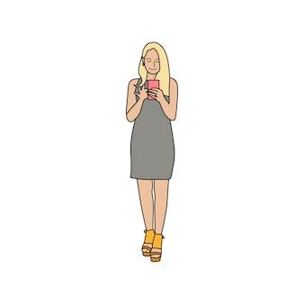 Mulher ilustrada usando telefone celular