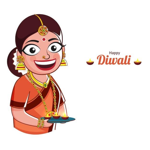Mulher indiana alegre segurando um prato