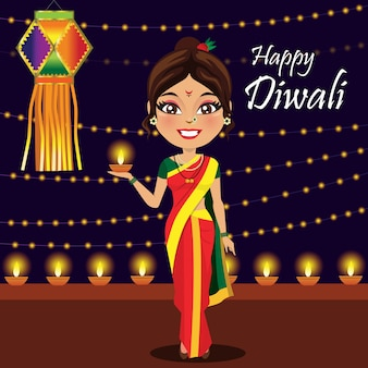 Mulher indiana, celebrando, diwali