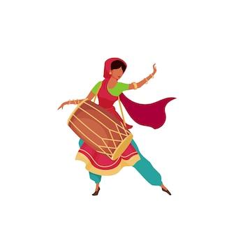 Mulher indiana com personagem sem rosto de cor plana de tambor