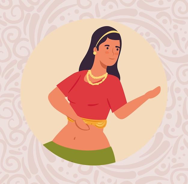 Mulher indiana com roupas de dança tradicional em design de ilustração circular de quadro