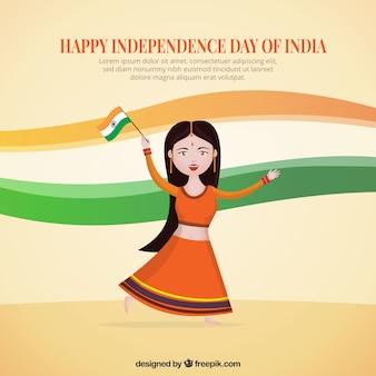 Mulher indiana dançando com uma bandeira