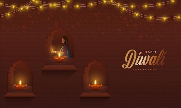 Mulher indiana decorada janelas com lâmpadas de óleo aceso (diya) e guirlanda de iluminação em fundo marrom para celebração de diwali.
