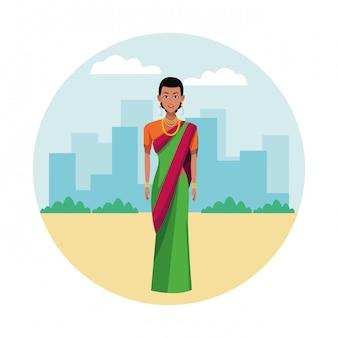 Mulher indiana, vestindo roupas tradicionais hindus