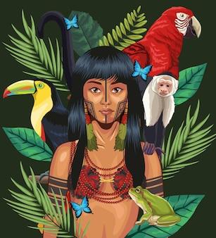 Mulher indígena com animais da selva