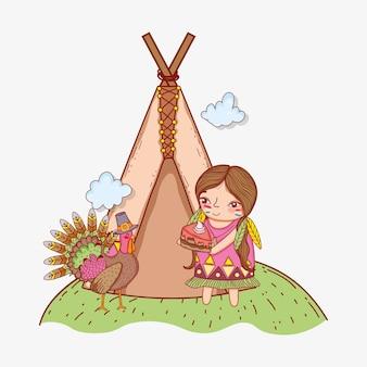 Mulher indígena com comida de bolo e turquia