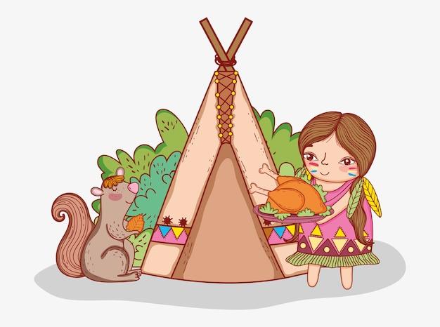 Mulher indígena com comida de peru e esquilo