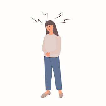 Mulher infeliz com ilustração vetorial plana de trauma psicológico isolada