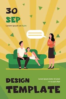 Mulher insatisfeita conversando com marido e filho no sofá
