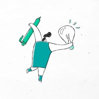 Mulher inteligente segurando um desenho de caneta e lâmpada