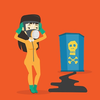 Mulher interessada em traje de proteção de radiação.