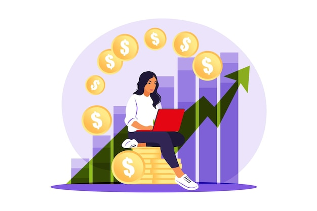 Mulher investidora com laptop monitorando o crescimento dos dividendos.