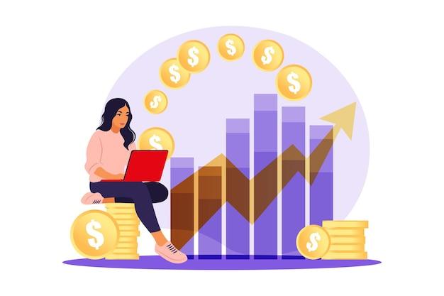 Mulher investidora com laptop monitorando o crescimento dos dividendos