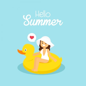 Mulher, ir viajar, em, feriado verão, menina, desgastar, branca, swimsuit, natação, ligado, a, inflável, pato amarelo