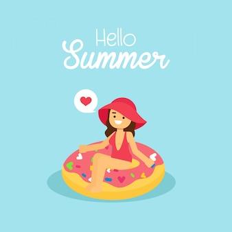 Mulher, ir viajar, em, feriado verão, menina, desgastar, maiô, natação, ligado, a, inflável, donut