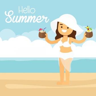 Mulher, ir viajar, em, feriado verão, mulher, em, verão, praia, ligado, feriado, férias, com, coquetéis