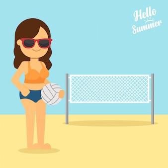 Mulher, ir viajar, em, feriado verão, mulher jovem, segurando, um, bola voleibol, em, mãos